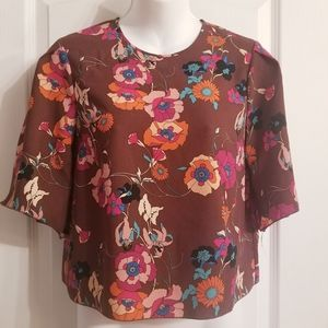 Aritzia Wilfred Floral Crop Blouse